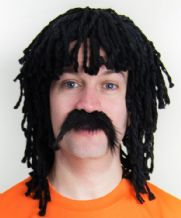 Ruud Gullit Football Fancy Dress Dreadlock Wig and Moustache